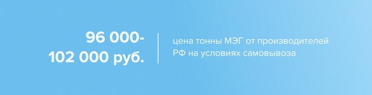 Цены на МЭГ в России выросли до 96 000–102 000 руб
